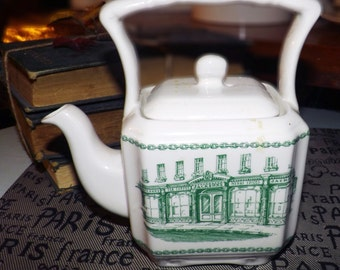 Vintage (1960s) Sadler green transferware basket-handle teapot made exclusively for Jackson's Teas of Picadilly.