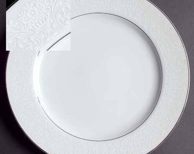Vintage (1970s) Wakefield pattern 364 white lace large dinner plate or charger. Made by Fine China of Japan | International. Platinum edge.
