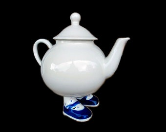 Vintage (1970s) Carlton Ware Walking Ware teapot with lid made in England. Blue Mary Jane Shoes.