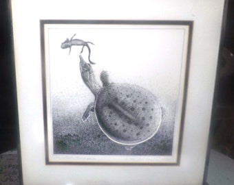Vintage (1984) framed, matted, signed, numbered, dated Native American drawing. Spiny softshell turtle. Dick Bernard 1984. 76/250.
