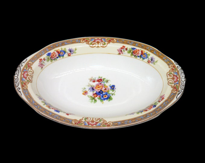 Antique (1920) Grindley Marjorie 714550 lugged rimmed oval relish dish. Ivory Ware ironstone made in England.