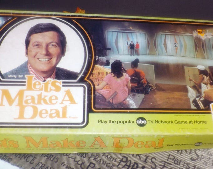 Vintage (1974) Let's Make a Deal board game based on the long-running TV show of the same name. Published by Ideal. Monty Hall on lid.