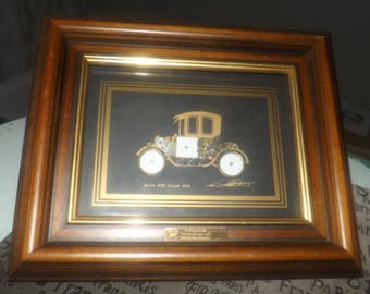 Vintage (1988) original framed watch | car collage by Ken Broadbent. Buick 838 Coupe 1914. Signed, COA on reverse.