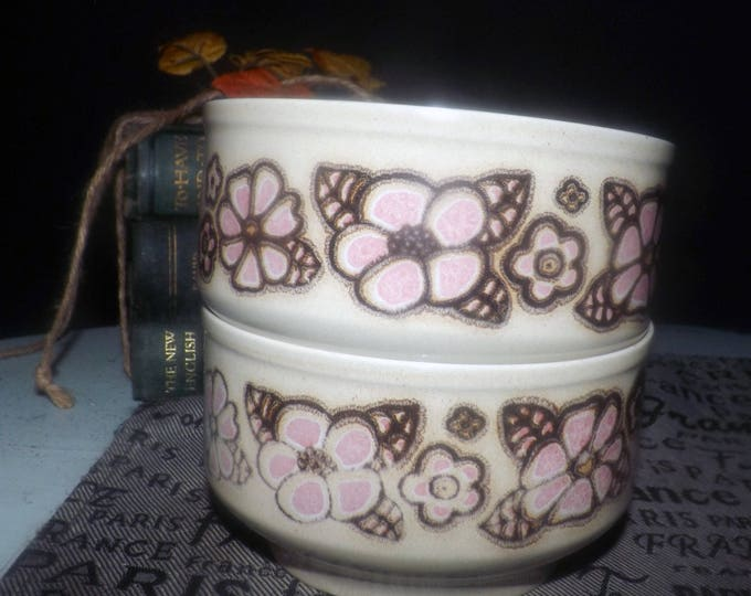 Pair of vintage (1970s) Kiln Craft   Staffordshire Potteries Pink Flowers K476 dessert bowls. Pink florals, brown outline.