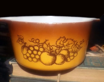 Vintage (1970s) Pyrex Old Orchard | Orchard pattern open handled casserole. Brown with etched-glass fruit imagery