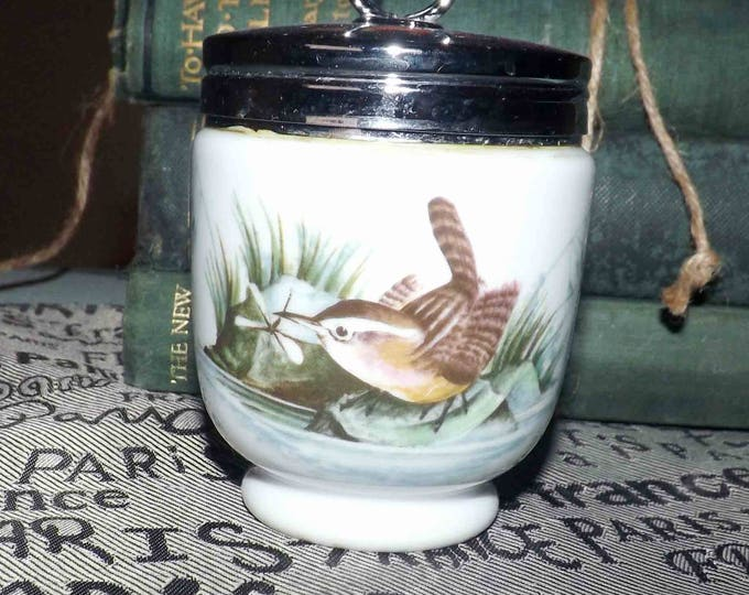 Vintage (1970s) Royal Worcester Birds pattern bone china egg coddler.  A wren and a finch, metal screw-on lid with ring top