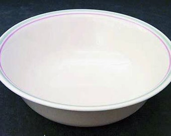 Vintage (mid 1990s) Corelle | Corning USA English Breakfast coupe cereal bowl. Pink and blue lines | bands.