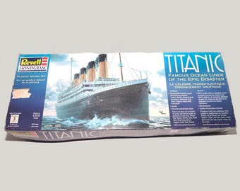 Vintage (1998) Revell Titanic scale model kit. New in opened box with instructions. Unassembled, complete.