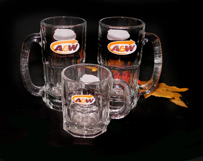 Vintage (1980s) A&W Root Beer mug. Choice of size. Etched-glass branding. Sold individually.