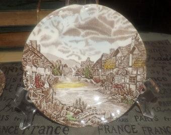 Vintage (1970s) Johnson Brothers Olde English Countryside hand-decorated bread-and-butter, dessert, or side plate. Landscape country scene.