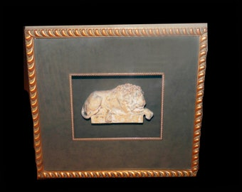 Vintage (1980s) Ren-Wil Inc. | Renwil Lion of Cavanova framed 3D Stone Lion wall art. Made in Montreal Canada.