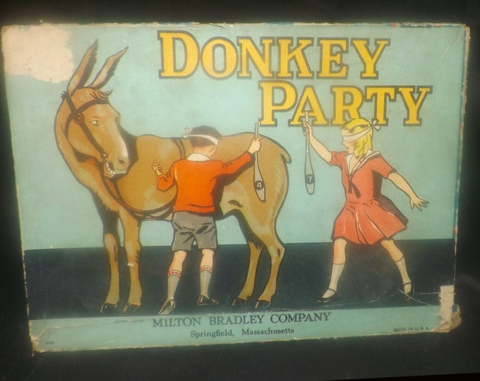 Quite vintage (1933) Donkey Party | Pin the Tail on the donkey party game 4920 by Milton Bradley.