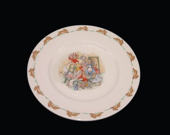 Vintage (1980s) Royal Doulton Bunnykins child's salad plate. Bunnies hanging wallpaper. Made in England.