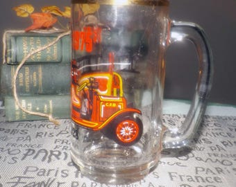 Vintage (1975) Firefighter | Fireman gift. Etched-glass handled mug | stein for the Town of Clinton Ontario Fire Department Centennial.