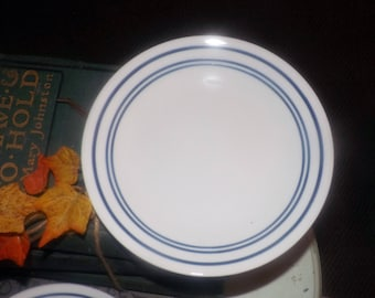 Vintage Corelle Classic Cafe Blue bread-and-butter, dessert, or side plate. Blue bands on white.in USA.
