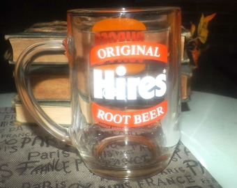 Vintage (1990s) CJBK1290 Hires Root Beer Burger King glass stein | mug. Etched-glass branding. London Ontario's talk radio station.