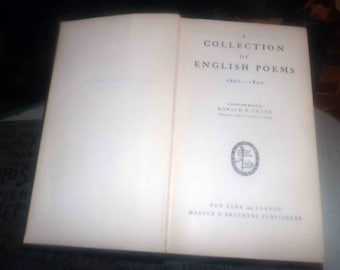 Vintage (1932) first-edition hardcover book A Collection of English Poems (1660-1800). Edited Ronald Crane. Harper Brothers, New York.