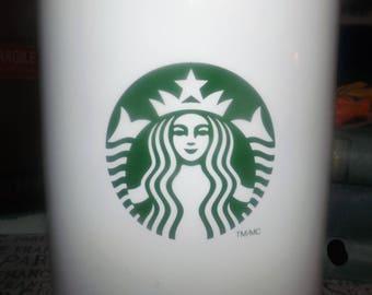 Starbucks large ceramic coffee | tea canister with vacuum-sealed lid. Starbucks mermaid branding. Made 2012.