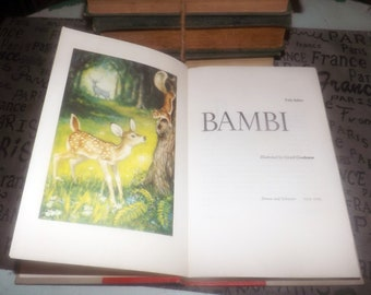 Mid-century (1956) hardcover book Bambi by Felix Salter. Simon & Schuster USA. Illustrations Girard Goodenow. Complete.