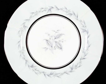 Mid-century (1950s) Northumbria AG Morning Mist large dinner plate | charger.  Hand-painted blue, grey flowers leaves, scalloped gold edge.