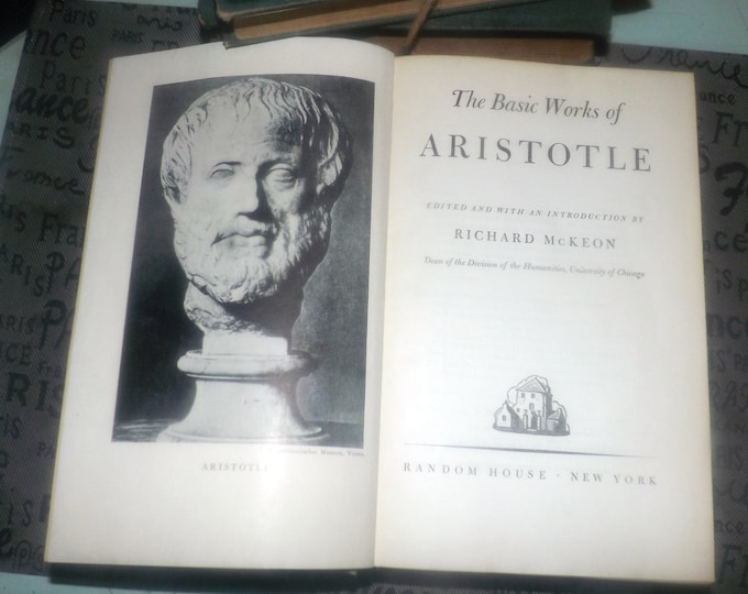 Early mid-century (1941) hardcover book The Basic Works of Aristotle published, printed USA by Random House. Random House Lifetime Library.