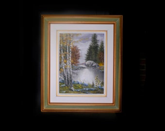 Mid-century Istvan Porubszky | Ivan Porubszky original oil on canvas painting professionally framed. River and forest landscape.