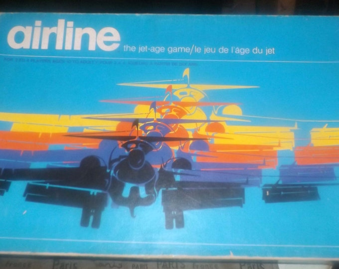 Vintage (1975) Airline board game published by Gamma Two Games.  Almost complete (see below). Made in Canada.