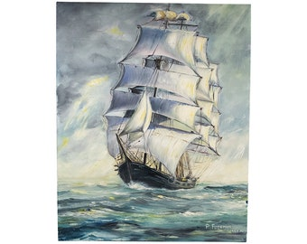 Mid century (1953) original oil painting on canvas of a sailing ship on the high seas by artist Peter Fugeman.