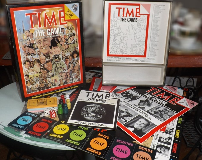 Vintage (1983) Time Magazine trivia board game published in the USA by Hansen. Trivial Pursuits style current events game. Complete.