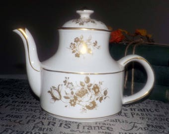 Early mid-century (early 1950s) Arthur Wood 5325 teapot with lid.  Gold roses | florals, gold edge and accents.