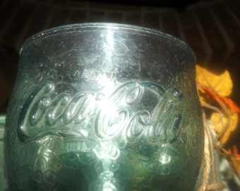 Vintage (1980s) retro collectible green-tint Coke | Coca-Cola Coke plastic tumbler or pint glass. Great for patio, deck and BBQ use.