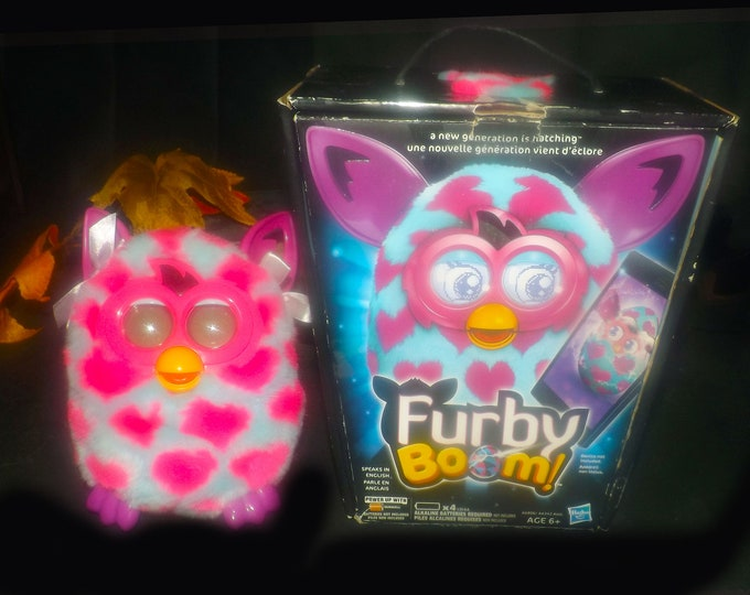 Furby Interactive | Electronic Toy made by Hasbro 2013. Pink ears, purple feet, pink hearts body. Working with original box.