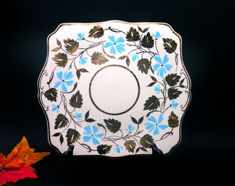 Antique art deco Myott Son & Co M190F square handled cake serving plate made in England. Aqua flowers, gold leaves. Minor flaw (see below).