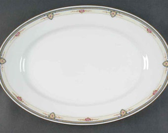 Antique (1908) Thomas Bavaria | Rosenthal The Belvedere large oval turkey | meat platter. Gold edge, art-nouveau florals.