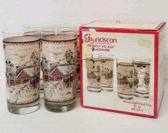 Vintage (1980s) boxed set of four Franciscan | Johnson Brothers Friendly Village 16-ounce tumblers.