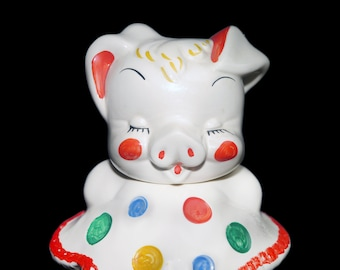 Mid century Shawnee Pottery Smiley the Polka Dot Pig Clown cookie jar. American bisque pottery.