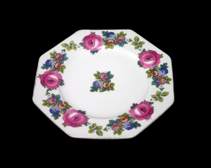 Antique art nouveau era Wedgwood WW183 multisided salad or side plate. Pink roses, blue flowers. Imperial Porcelain made in England. Flaws.