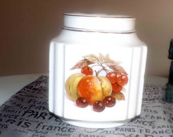 Vintage (1970s) Sadler England 3622 tea caddy | covered jar. Fruit theme similar in style to Royal Worcester Evesham.  Gold accents.