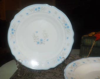 Vintage (1970s) Arcopal France Romantique pattern rimmed milk glass soup bowl.  Small blue florals on white, blue edge.