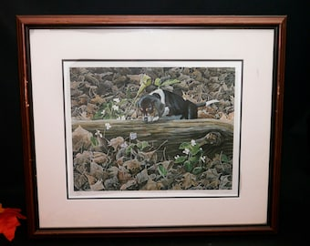 Vintage (1980s) Tammy Laye Charlotte framed signed numbered limited-edition print. Spaniel dog snooping in the woodland. Print 479/600.