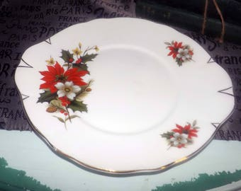 Vintage (1970s) Sadler 3975 Christmas Poinsettia, red berries, holly cookie, cake, or pastry plate. Gold edge, accents