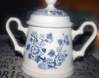 Vintage (1960s) Johnson Brothers Kyoto Blue blue-and-white covered, double-handled sugar bowl. Choiserie florals. Flawed (see below).
