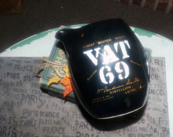 Vintage (late 1970s - early 1980s) VAT69 scotch whisky jug made in Japan. Solid black with white and gold branding | wording.