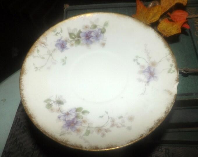 Quite vintage (1930s) GDA169 Gerard, Dufraisseix, Abbott | Field Haviland Limoges hand-painted saucer. Purple flowers, brushed gold. Flawed.