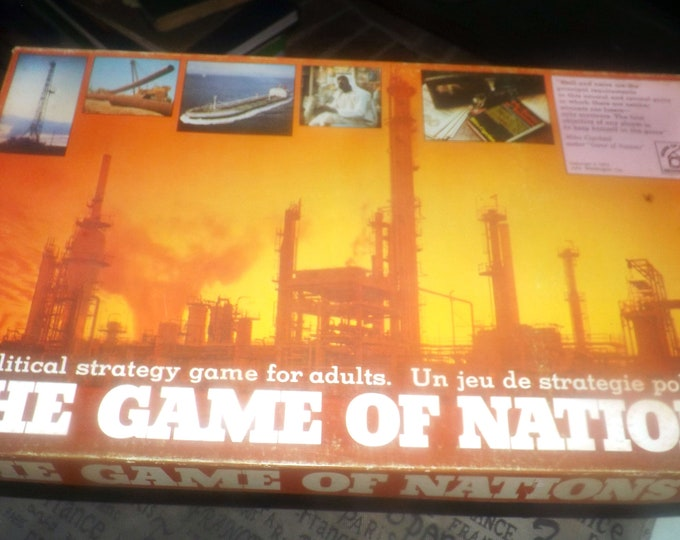 Vintage (1974) The Game of Nations political strategy board game published by Waddingtons.  Canadian (English | French) issue.  Complete.