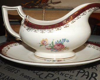 Quite vintage (mid-late 1930s) Crownford | Ford & Sons Burslem maroon, filigree and flowers gravy boat and under plate.