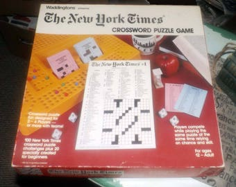 Vintage (1985) The New York Times Crossword Puzzle Game by Waddingtons. Made in Canada. Almost complete (see details below).