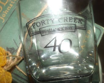 Vintage (early 1990s) Forty Creek | 40 Creek Canadian Whisky lo-ball | on-the-rocks glass. Etched-glass logo and type, weighted base.