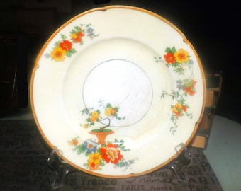 Almost antique (1920s) Grindley Carnival hand-decorated luncheon | breakfast plate. Ivory Ware line Reg. No. 714550.