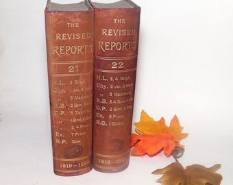 Pair of antiquarian Victorian-era English law books. Revised Reports Republication of Such Cases in English Courts of Common Law & Equity
